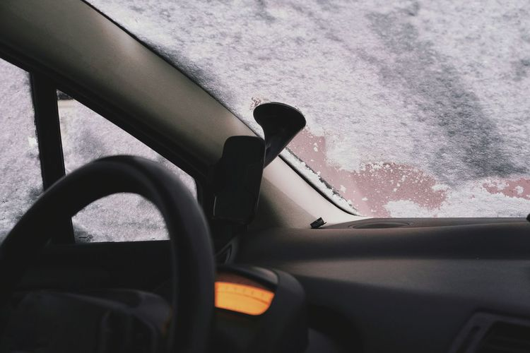 Car No People Snow Snow Covered Winter Land Vehicle Car Door Car Interior Car Steering Wheel Window Vehicle Interior Close-up Windshield Wiper Windshield Car Point Of View Speedometer Windscreen Vehicle Seat