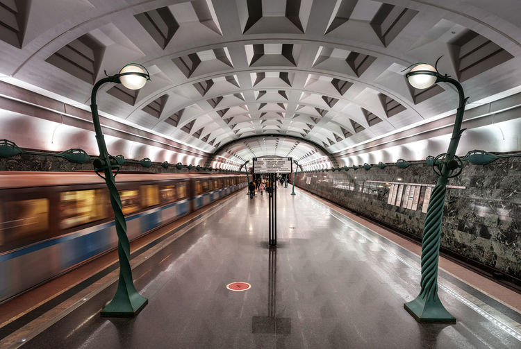 Interior of metro station slavic boulevard