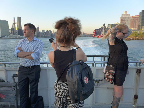 American Flag East River EyeEm In NYC 2015 Ferry Fjällräven Kanken Bag Manhattan New York New York City Photographer Skyline Taking Pictures Of People Taking Pictures Learn & Shoot: Working To A Brief