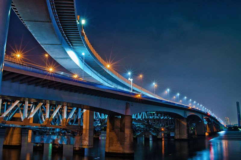 Bridge Bridge - Man Made Structure Connection Architecture Built Structure Illuminated Transportation Night Engineering City Sky River Water Street Light Nature Low Angle View Travel Destinations Street Architectural Column Light Japan Japan Photography Tokyo Tokyo Night