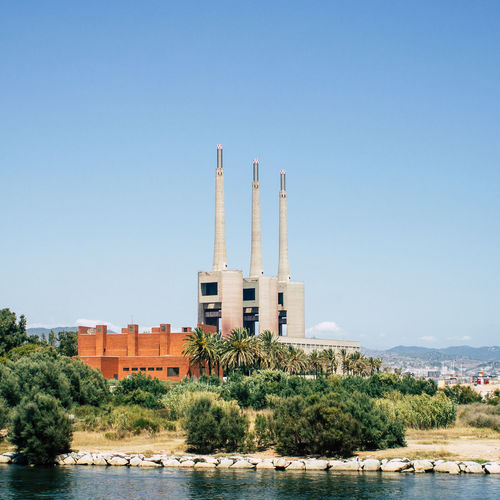 The old thermal power plant in Barcelona, Spain Architecture Barcelona Barcelona, Spain Chimney Indistrial Power Plant Architecture Built Structure Clear Sky Day No People Smoke Stack