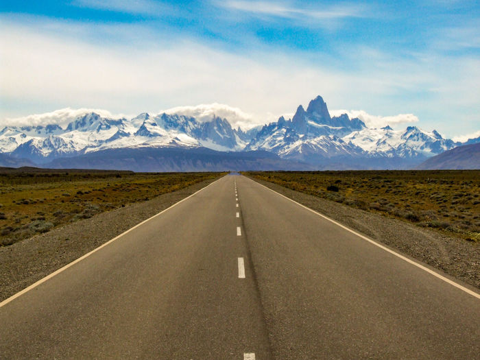 Road towards el chalten with mountains fitz roy and cerro torre, patagonia, argentina
