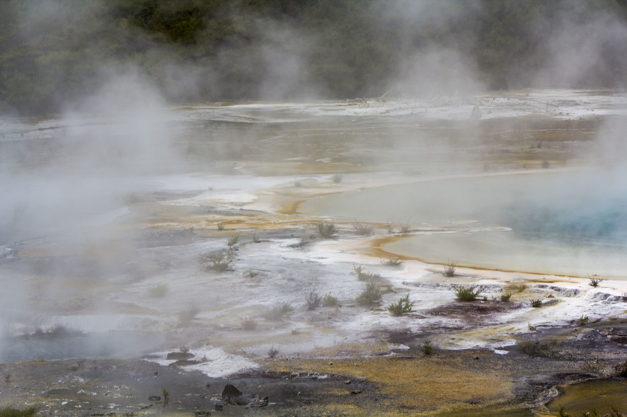 Geothermal activity, Rainbow Terrace with blue hot spring and steam rising Formation Impressive Steam Travel Wanderlust Beauty In Nature Beauty In Nature Boiling Water Earthquake Environment Geological Formation Geology Geothermal  Geothermal Activity Geyser Heat - Temperature Hidden Valley Hot Pools Hot Spring New Zealand Physical Geography Power In Nature Scenics - Nature Steam Volcanic