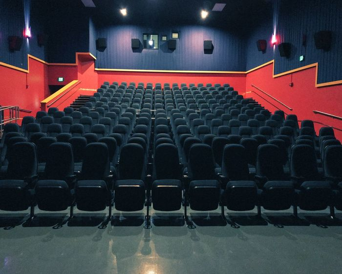 A sea of seats VSCO Vscox Iphoneonly Iphonephotography IPhoneography IPhone Photography Seat Arts Culture And Entertainment In A Row Movie Theater Chair Empty Indoors