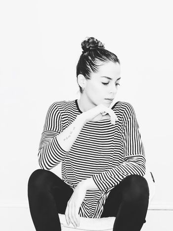 thirty-nine. B & W By Yeli Self Portrait Black And White Minimalism One Person Young Adult Young Women Sitting Striped Beauty Fashion Women Adult Indoors  Real People Beautiful Woman Portrait Studio Shot