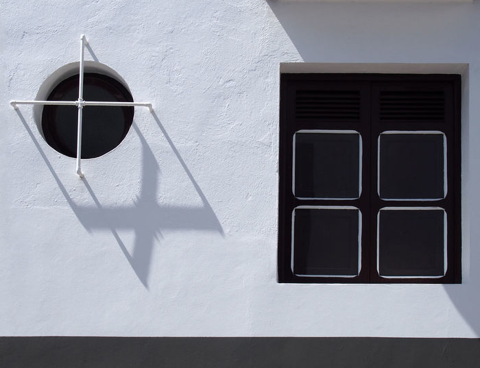 round widow square window Square Windows Architecture Building Exterior Built Structure Day No People Round Window Whitewashed Window