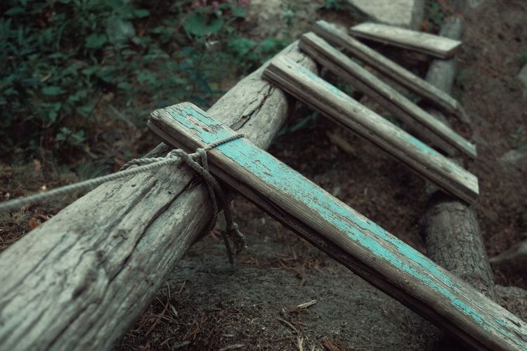 High angle view of old tied up on wooden bench