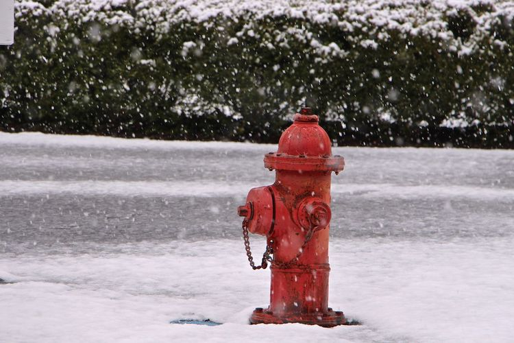 Fire Hydrant On Snow Covered Street During Snowfall
