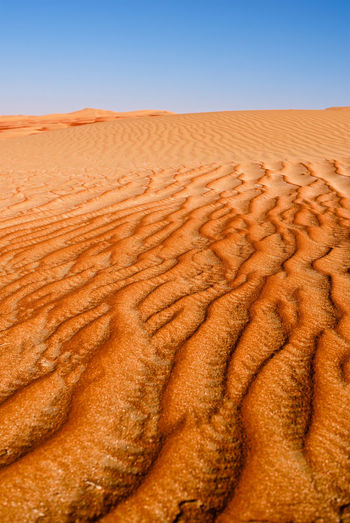 Sand pattern carved by the wind. Empty Quarter Arid Climate Atmospheric Beauty In Nature Brown Clear Sky Climate Day Desert Environment Horizon Over Land Land Landscape Nature No People Non-urban Scene Outdoors Pattern San Sand Sand Dune Scenics - Nature Sky Tranquil Scene Tranquility