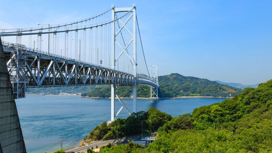 Water Built Structure Bridge Transportation Architecture Sky Bridge - Man Made Structure Engineering Connection Nature Suspension Bridge River Day Tree Plant Travel Destinations Scenics - Nature Outdoors Bay Sea Seascape Cycling