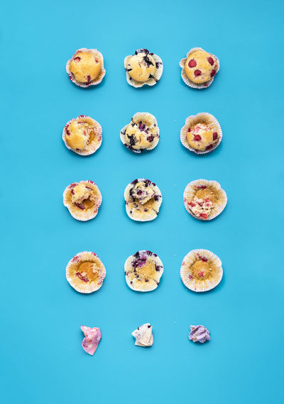 High angle view of food against blue background