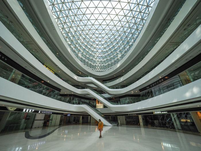 People in modern office building
