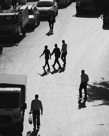Trio Bw Bw_lover BW_photography Bws_worldwide Bw_photooftheday Bwstreet Bwstreetphotography Lihgt Shadow Shadows & Lights Shades Of Grey Only Men People Adult Adults Only High Angle View Silhouette Day Men Shadow