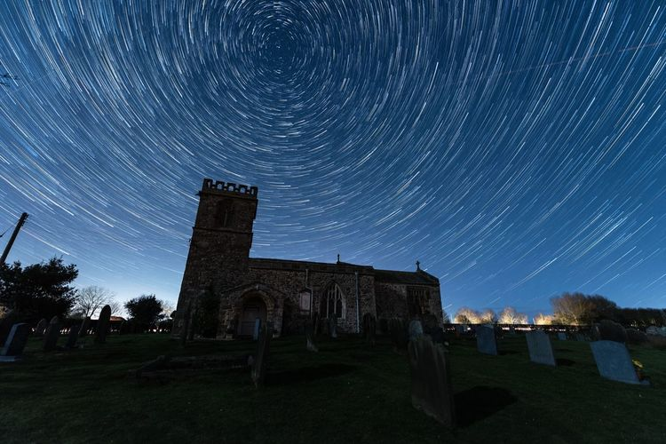 Night Star - Space Sky Astronomy Built Structure Architecture Long Exposure Space Building Exterior Star Trail Nature Building Star Scenics - Nature No People Motion History The Past Star Field Place Of Worship Outdoors