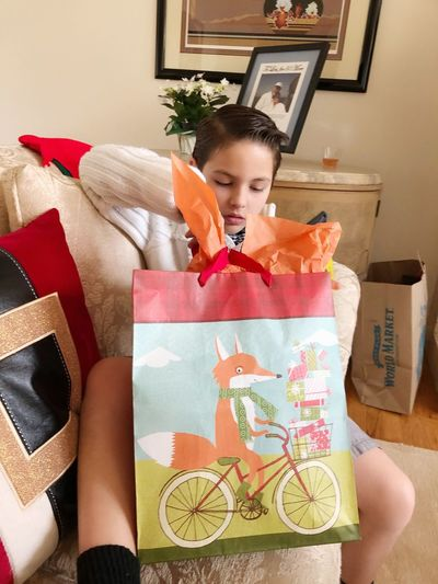 Opening a gift Opening Night Gift Wrapping Cute Boy Autism Awareness Family Time Chritsmas Indoors  One Person Real People Home Interior Sofa Front View Lifestyles Childhood