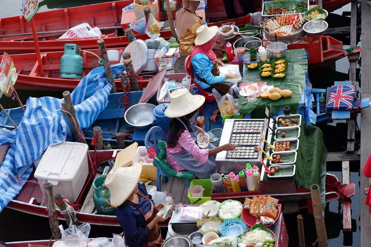 People at floating market
