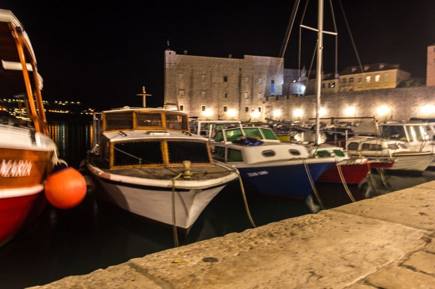 Dubrovnik, Croatia Harbour Nightphotography Ship Lights