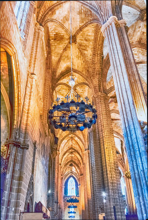 BARCELONA - AUGUST 8: Interior of the gothic Cathedral of the Holy Cross and Saint Eulalia, aka Barcelona Cathedral, Catalonia, Spain, on August 8, 2017 Architecture Religion Belief Place Of Worship Built Structure Spirituality Low Angle View Building Travel Destinations Ceiling Building Exterior The Past History Day Travel Arch No People Architectural Column Ornate Architecture And Art Gothic Style