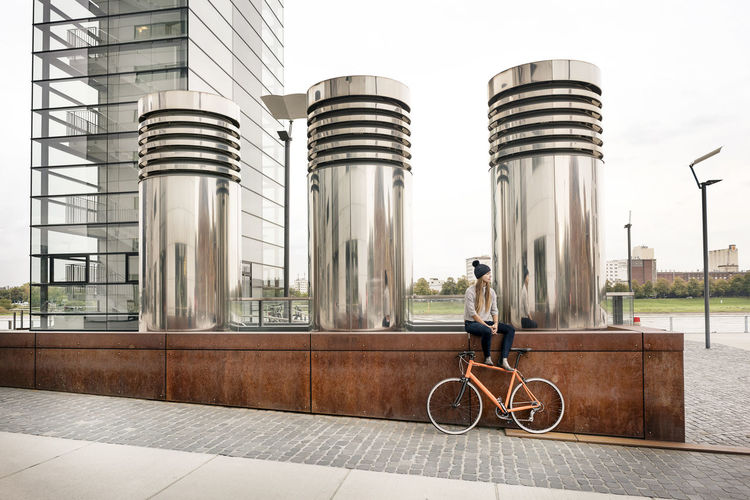 Bicycles against building in city