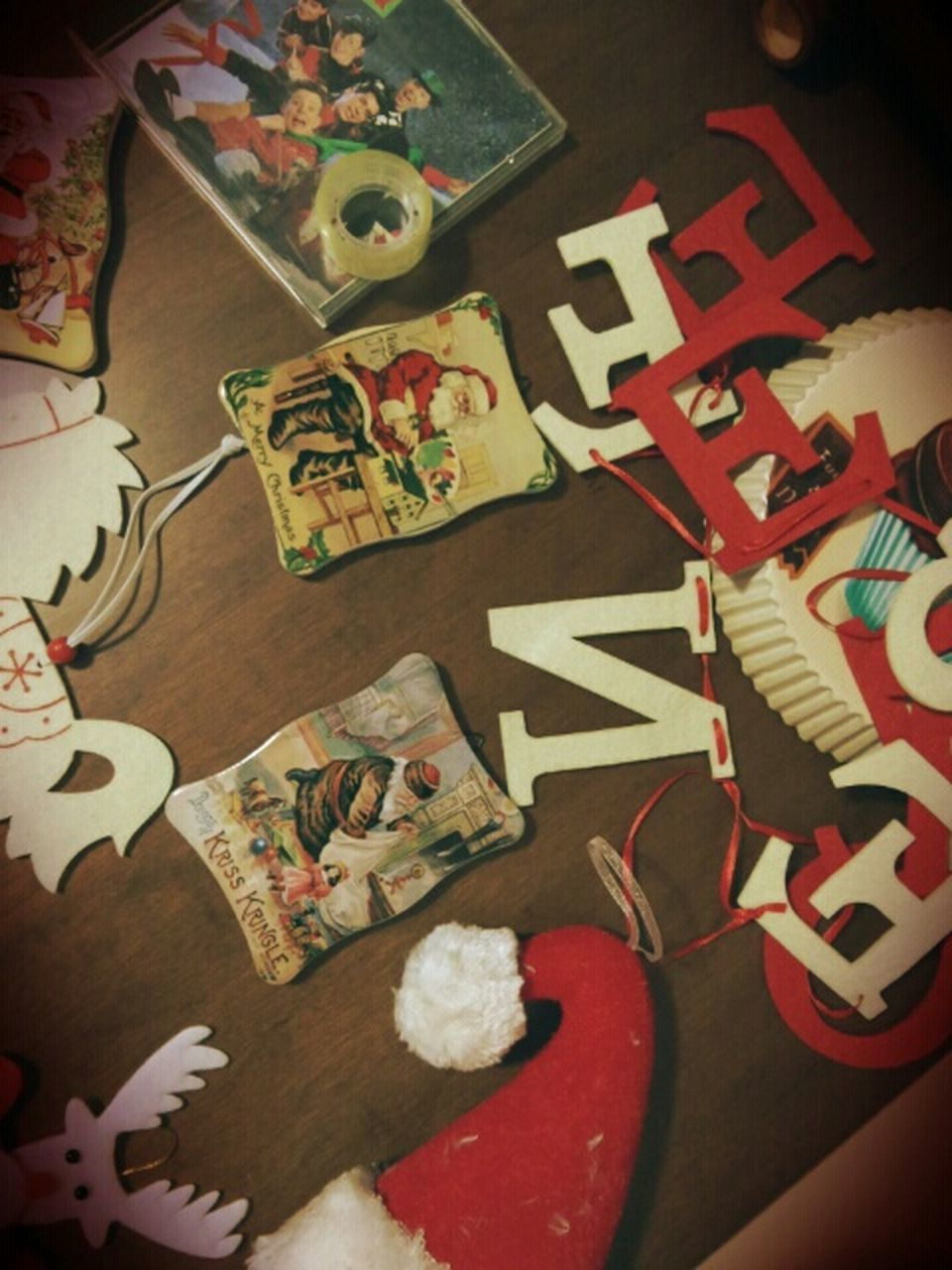 table, indoors, high angle view, still life, no people, close-up, puzzle, childhood, christmas decoration, day