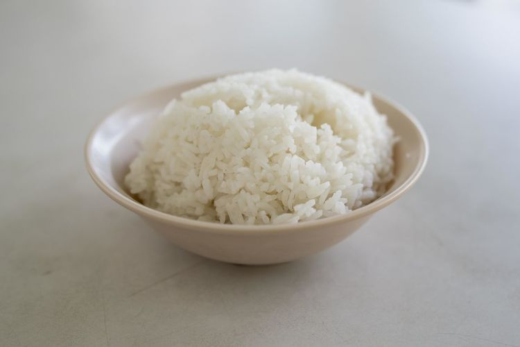Close-Up Of Rice In Bowl On Table