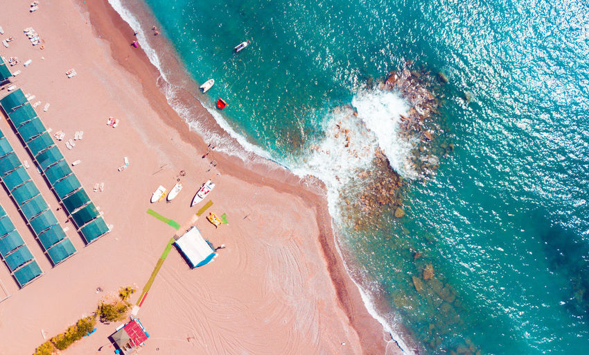 High angle view of water on beach