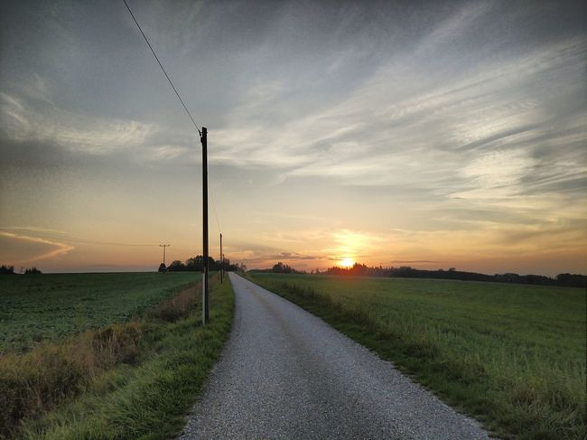 Rural Scene Sunset Road Agriculture Track - Imprint Field Social Issues Sky Cloud - Sky Grass