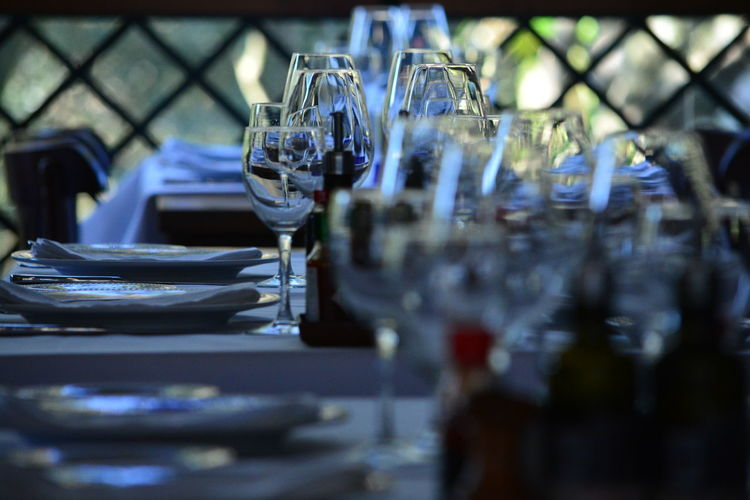 Glass of wine on table in restaurant