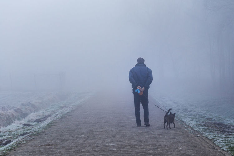 walking dog on cold winter day Adult Animal Themes Cold Temperature Day Dog Domestic Animals Fog Full Length Mammal Nature One Animal One Man Only One Person Outdoors People Pets Rear View Sky Walking Walking Dog Warm Clothing Weather Winter Walking The Dog