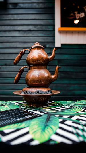 Tea kettles on table