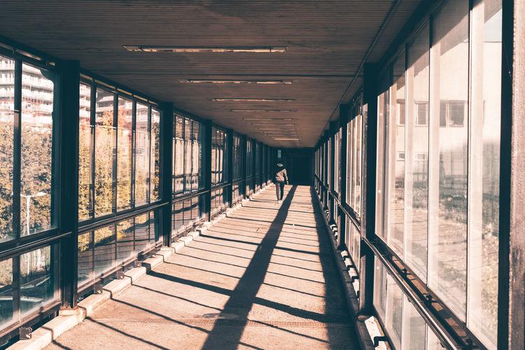 Stockholm, sweden - october 17 2020, walkway at liljeholmen subway station