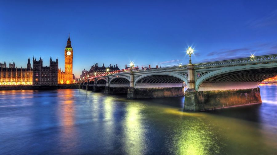 Bridge Over River Against Built Structures