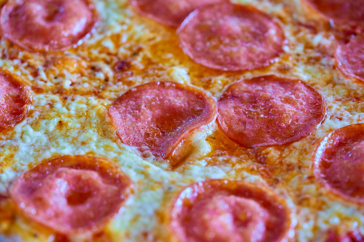 Backgrounds Cheese Close-up Dairy Product Fast Food Food Food And Drink Freshness Full Frame Indoors  Indulgence Meat No People Pepperoni Pepperoni Pizza Pizza Ready-to-eat Selective Focus Snack Still Life Temptation Unhealthy Eating