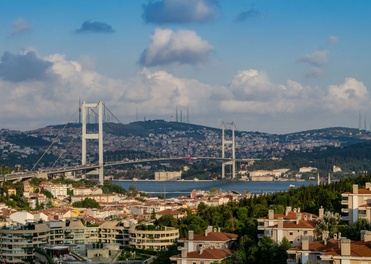Bosphorus Bridge. Bridge over the Bosphorus in Istanbul. View from the European part of Istanbul against the blue sky with clouds and the hills of the Asian part - Üsküdar district Built Structure Architecture Building Exterior Sky City Cloud - Sky Building Water Nature No People Residential District River Day Cityscape Connection Outdoors Bridge - Man Made Structure Bridge Mountain Bay TOWNSCAPE Istanbul Bosphorus Bridge Bosphorus Blue Sky Clouds And Sky Hills Стамбул босфор мост босфорский мост небо небо облака пролив архитектура дома здания город урбан урбанистика городской пейзаж городскаяархитектура путешествия достопримечательность Sight азия турция Turkey