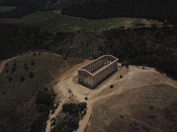 Tempio di Segesta Sicily Sicily Sicily Siclia Archeologia High Angle View Land Landscape Beauty In Nature Day Tranquility Scenics - Nature Architecture No People