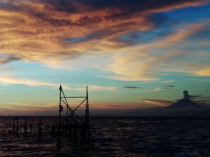 Sunset Sea Sky Beach Cloud - Sky Beauty In Nature Landscape NTB Lombok Island Rumahalir DELTA API mount Agung, old harbor
