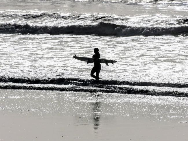 Water Sea Reflection One Person Aquatic Sport Holding Silhouette Surfing Adult Full Length Outdoors Beach Surf Photography Surfboard Surf's Up Gower Wales EyeEmNewHere Black And White Friday