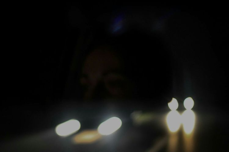 Driving into the night. Night Mushing No Focus