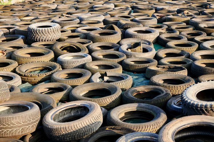 Full frame shot of tires at junkyard