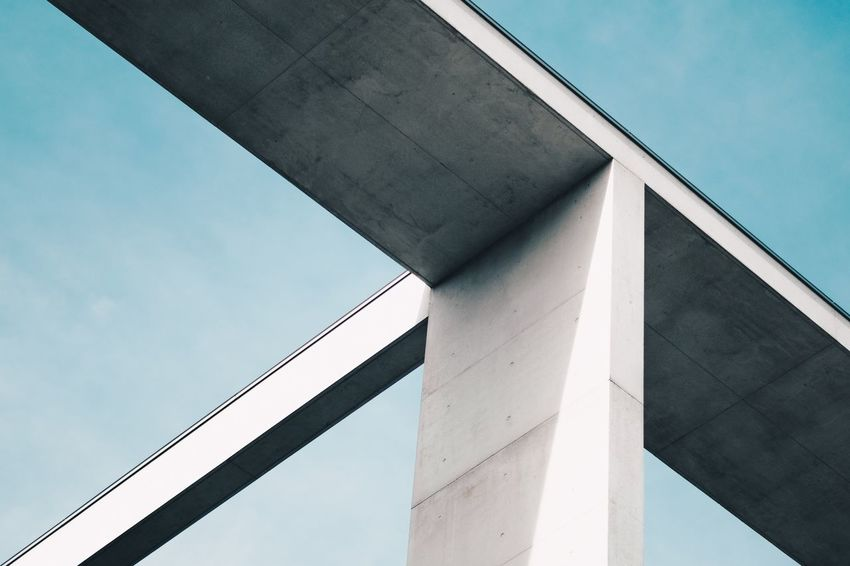 Architecture Built_Structure Connection Bridge - Man Made Structure Low Angle View Day Outdoors No People Building Exterior Architectural Column Modern Sky City Fresh On Market 2017