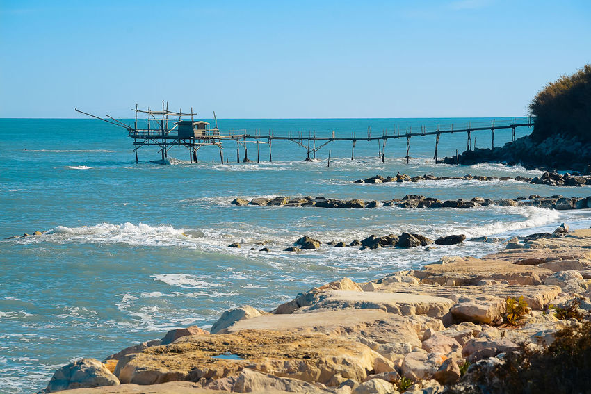 Beach Beauty In Nature Blue Built Structure Clear Sky Day Horizon Over Water Nature No People Outdoors Scenics Sea Sky Trabocchi Coast Trabocco Water Wave
