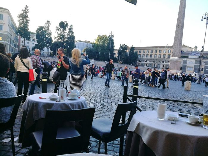 Large Group Of People Men Table Built Structure Architecture Building Exterior Person Leisure Activity Tree Chair Tourism Lifestyles Travel Destinations Water Sky Crowd First Eyeem Photo IlluminatedOutdoors Famous Place City Life Performance Piazza Del Popolo Prospective Prospettive