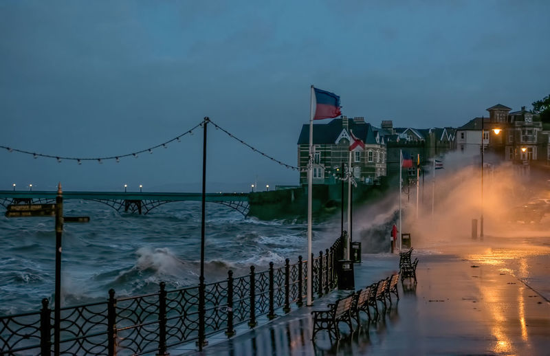 Stormy morning In Clevedon. Clevedon Clevedon Pier High Tide Storm Seafront Britain Waves Windy Bristol Channel