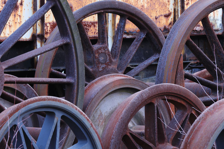 Close-up of rusty metal wheel