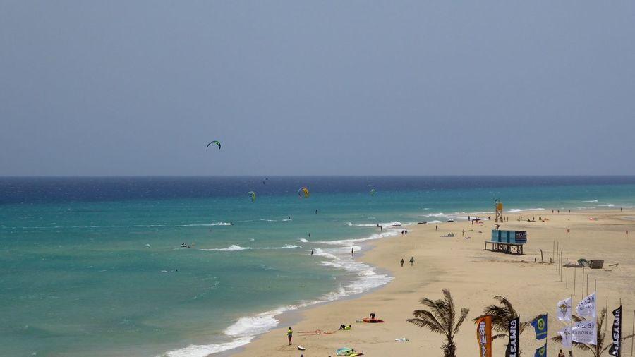 Beach Sea Sand Water Outdoors Surfers Windsurfing Kitesurfing Playa Sotavento Gorriones Fuerteventura