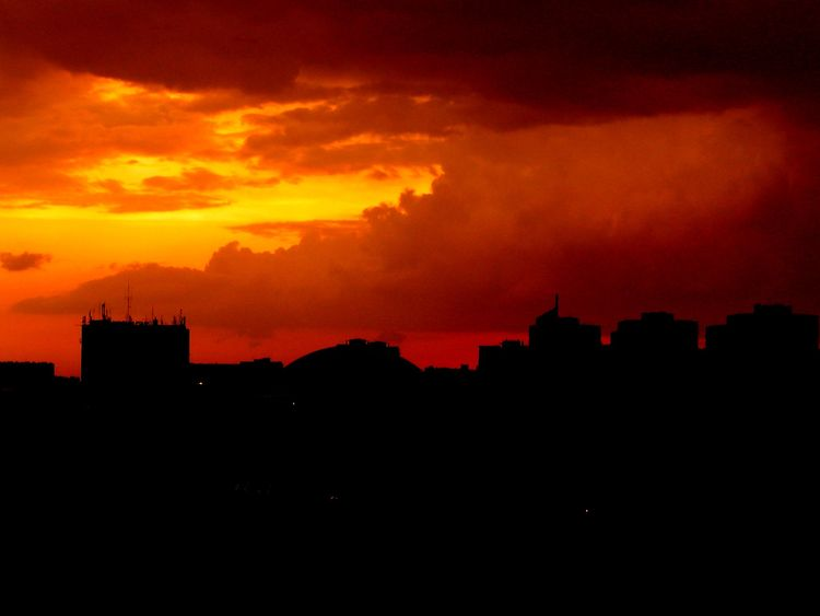 Somewhere in Lublin Architecture Atmosphere City Cloud - Sky Cloudy Dark Dramatic Sky Majestic No People Red Sky Urban Skyline