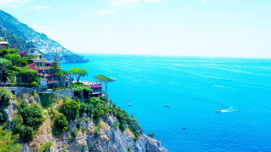 Sea Beauty In Nature Nature Scenics Day Blue Water Outdoors Tranquil Scene Tranquility Travel Destinations Sky No People Beach Vacations Landscape Horizon Over Water Tree Flower UnderSea Italytrip Italystyle Amalficoast Amalfi Italy Ocean