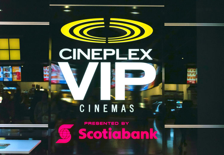 Cineplex VIP Cinemas presented by Scotiabank. Cineplex Inc. formerly known as Cineplex Galaxy Income Fund and Galaxy Entertainment Inc. is one of Canada's largest entertainment companies Advertisement Cinemas Cineplex  Cineplex Vip Cinema City Commercial Sign Communication Illuminated Indoors  Information Information Sign Ontario Ontario, Canada ScotiaBank Shop Shopping Sightseeing Sign Symbol Toronto Toronto Canada Tourism Travel Urban Vip