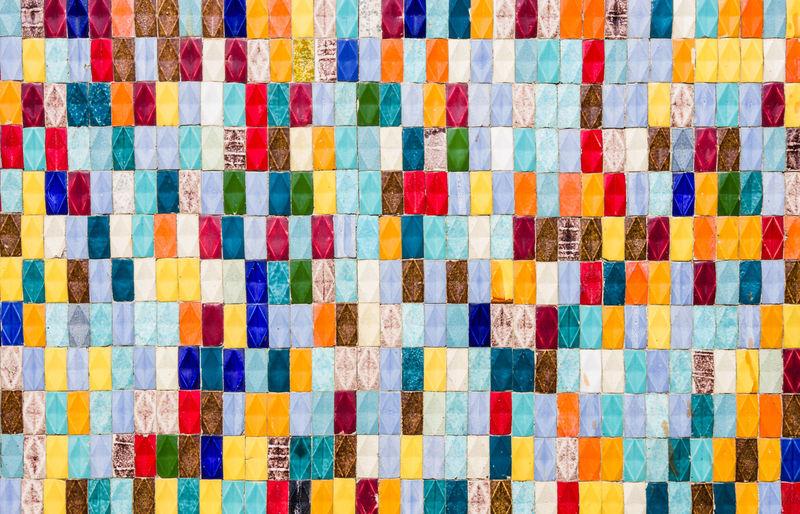 Full frame shot of multi colored tiled wall