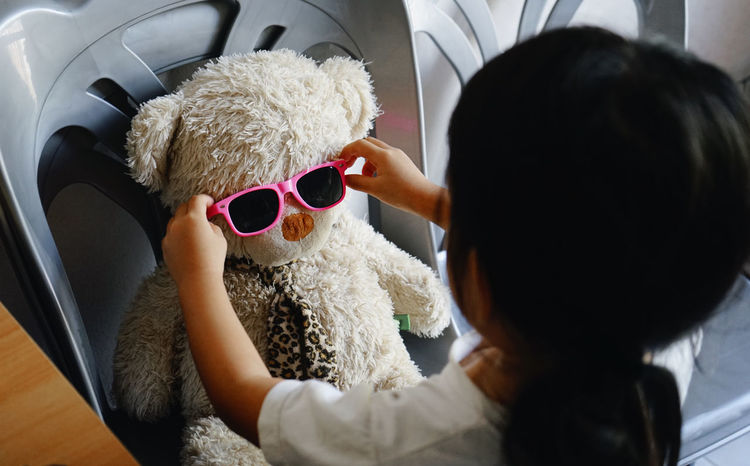 Accessibility Accessories Child Childhood Doll Girl Indoors  One Person Only Women Play Sunglasses Teddy Bear Fresh On Market 2017